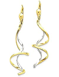 ICE CARATS 14k Two Tone Yellow Gold Spiral Drop Dangle Chandelier Leverback Earrings Lever Back Fine Jewelry Gift Set For Women Heart