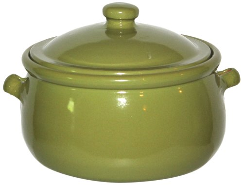 Amazing cookware - pentola in terracotta con coperchio da 3 l, colore: verde oliva