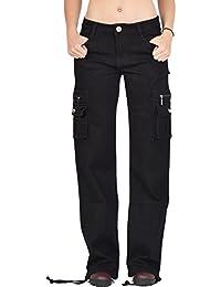 Glamour Outfitters Pantalon Cargo - Pantalon Combat à Jambes Larges - Noir