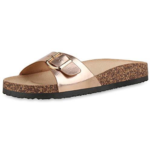 SCARPE VITA Damen Sandalen Pantoletten Lack Sommer Hausschuhe Schlappen Korkoptik Schuhe Bequeme Sommerschuhe 183350 Rose Gold Metallic 38