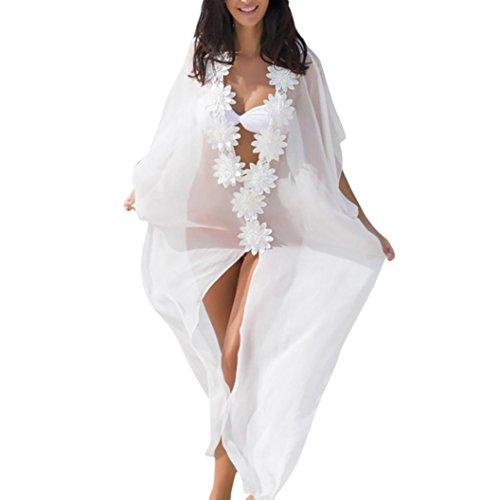 Longra Damen Strandkleider Chiffon Boho Sommerkleider Blumen Bikini Cover Up Lang Maxikleider Pareos Kimono Cardigan Tunika Urlaub Strandponcho Sommer Bademode (White, S) (Pareo Weiß)