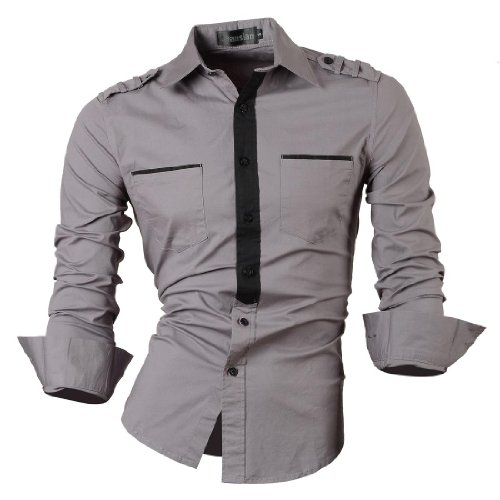 jeansian Homme Chemises Casual Shirt Tops Mode Men Slim Fit 8328 gray