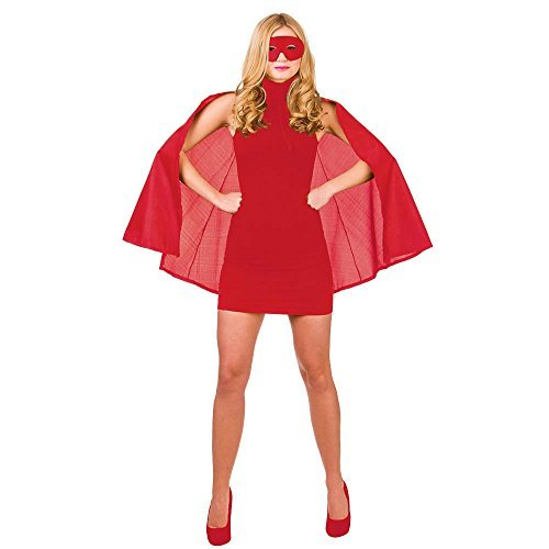 ((O) Meine Damen Super Hero Umhang & Maske Outfit Zubehör für Superhero Fancy Dress Damen One Size Rot)