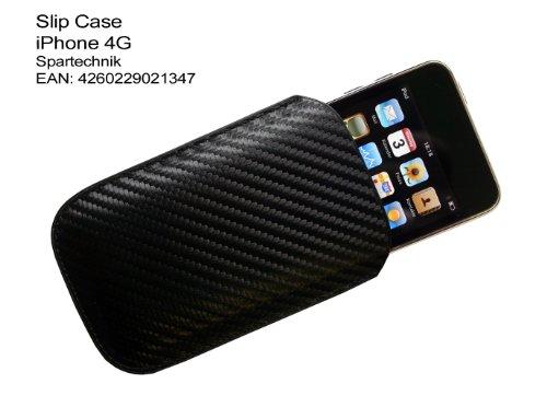 Spartechnik Tasche iPhone 4G mit Rückzugfunktion (Easy Out Ausziehilfe). Pouch Case für Apple iphone 4G 4te 4Gs Generation mit Glitzerlook durch bestes Zopfmusterdesign Pda-tasche Pouch Case
