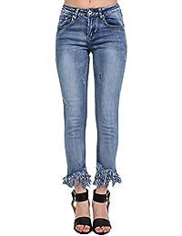 PILOT® extrême ourlet effiloché affligé des jeans recadrées