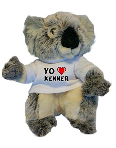 Koala personalizada de peluche (juguete) con Amo Kenner en la camiseta (nombre de pila/apellido/apodo)