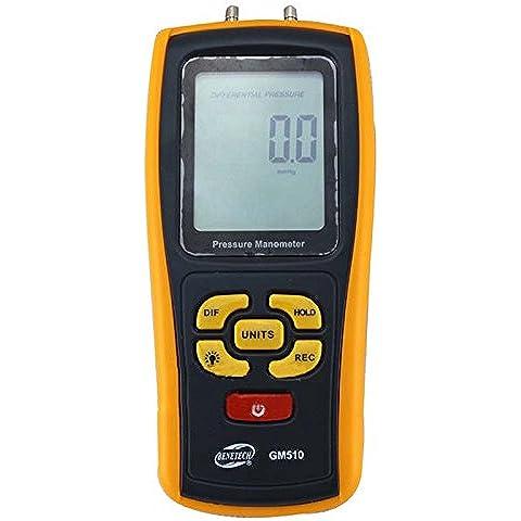 manometro digitale - BENETECH GM510 Portable USB Manometro della Pressione dell'Aria Digitale LCD Manometro differenziale Campo di misura 10 kPa giallo - Manometro Differenziale