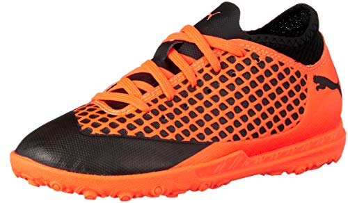 Puma Unisex-Kinder Future 2.4 TT JR Fußballschuhe, Schwarz Black-Shocking Orange 02, 35 EU