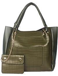Elegant Creations Green Color Handbag/Shoulder Bag Large Size And Sling Bag Combo For Women And Girls