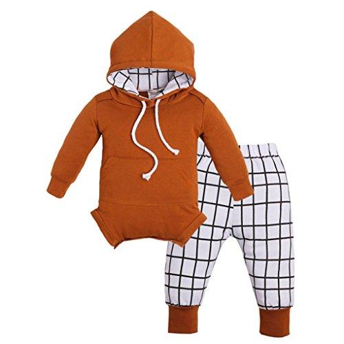 Longra Baby Mädchen Jungen Outfits Kleidung Mit Kapuze Strampler Overall + Plaid Hosen Set Unisex Baby Mode Kapuzenpullover Babykleidung (0-18Monate) (80CM 6Monate, Yellow) (Kleidung Jungen Mode)