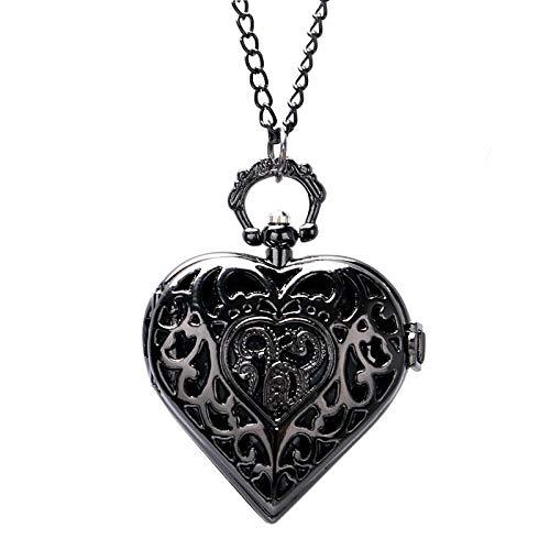 SDVIB Taschenuhr Steampunk Charm Dark Black Herzform Hohl Design Quarz Taschenuhr Halskette Anhänger Kette Womens Girl Schöne Geschenke, schwarz