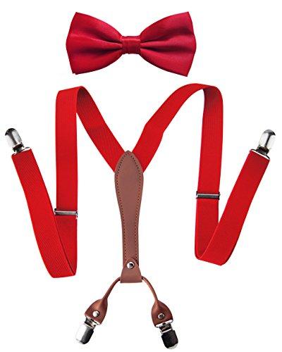 axy X-Form Herren Hosenträger mit Fliege Set - breit 2,5 cm mit PU Leder und 4 Starken Clips HT25-2 (Rot Set) -