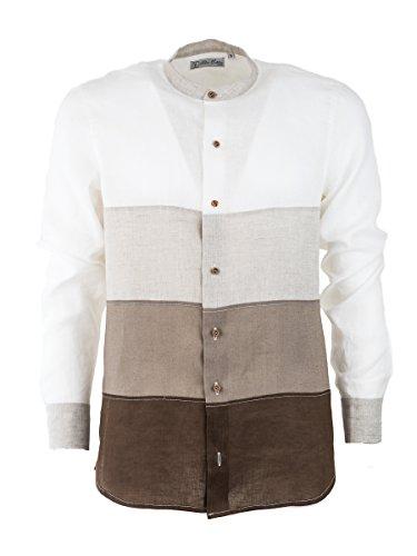 Camicia di lino uomo, collo coreano manica lunga, camicia estiva made in italy, con tagli a sfumatura graduale in lino (xl, beige sfumato)