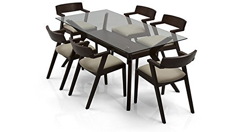 Urban Ladder Wesley - Thomson Six Seater Dining Table Set (Dark Walnut Finish, Latte)