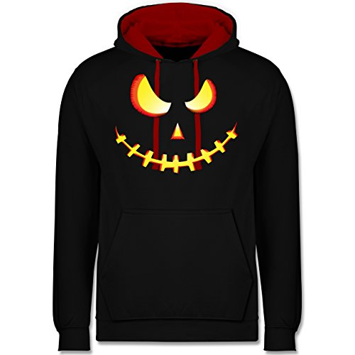 (Shirtracer Halloween - Gruseliges Kürbis-Gesicht - S - Schwarz/Rot - JH003 - Kontrast Hoodie)