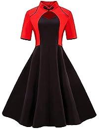 5e444f90a21504 Longra Damen Elegant Vintage 50er Jahre Kleid Rockabilly Ballkleid  Cocktailkleid mit Schwan Knielang S~4XL