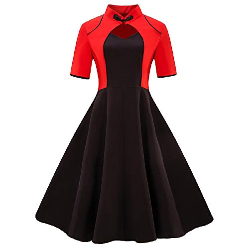 (Weihnachten Kleider Damen Abendkleid Ballkleid Cocktail A-Line Party Swing Rockabilly 1950er Vintage Elegant Hepburn Hochzeit Kragen Lip Block drapiert Urlaub Kleid(11,Medium))
