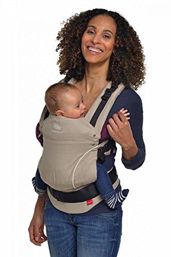 manduca Babytrage > PureCotton Desert Sand (Auslaufmodell) < Bauchtrage Hüft- und Rückentrage, Baby- und Kindertrage von 3,5 kg bis 20 kg, beige (Flex-schultergurt)