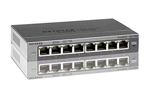 Netgear GS108E-300PES 8 Port Smart Managed Plus Gigabit Switch (bis 2000 MBit/s, Plug-and-Play, konfigurierbar mit deutscher GUI, VLAN, QoS/DoS, IGMP-Snooping, lüfterlos, Metallgehäuse)