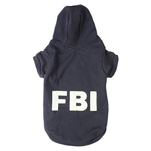 BulzEU FBI-Kostüm für Hunde, weiche Baumwolle, Kapuzenjacke, Welpen, Pullover für Kleine und mittelgroße Hunde