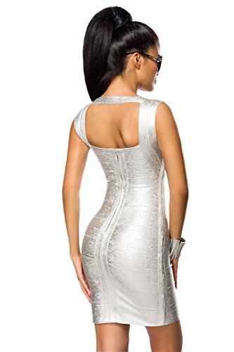 Bandage Kleid mit Rückenausschnitt und Metallic-Beschichtung in 2 Farben A14021 silber (Sw 29)
