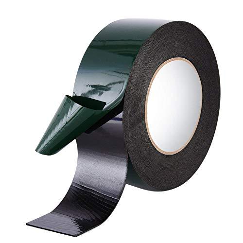 Lvcky 10m (50mm) Schaumstoff Klebeband Doppelseitig Schwamm Tape Wasserdicht Montage Klebeband Rolle Automotive Grade Kennzeichen Cars Radzierblenden, Schwarz