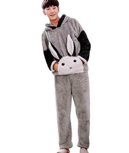 Anguang Unisex Donne Pigiama Set Autunno e Inverno Pigiama Sleepwear Nightgown Femmina Pigiama Uomo Stile 1
