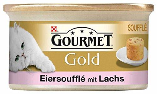 Gourmet Gold Katzenfutter Souffle mit Lachs, 12er Pack (12 x 85 g) Dosen