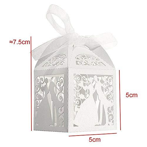 HJ Stay Real 100 Stück Vogelkäfig-Entwurf Hochzeit Süßigkeiten Schachtel/Geschenkboxen/Schokolade kartons/klein Schmuck Geschenkbox/Bonbon-Box mit Farbband, Hochzeit Party Dekoration