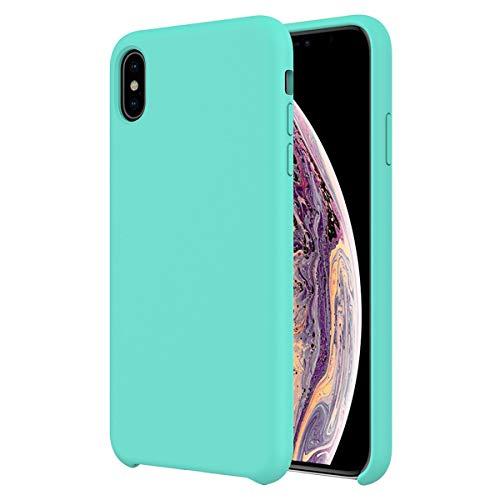 NEWZEROL für iPhone XS Max Hülle [Slim-Fit] [Stoßdämpfung] iPhone X Hard Case Silikon Hülle Flüssiges Silikon-Gel Gummihülle mit weichem Mikrofasertuch Innenkissen-Mint Green Slim Fit Hard Case