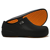 Stico Men's Slip Resistant Chef Clogs, Professional Non-Slip Work Shoes for Restaurant Hospital Nursing Garden [Black/US Men 6]