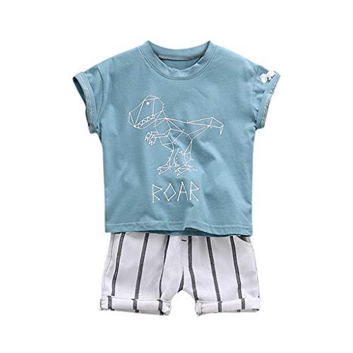 Julhold Kleinkind Kinder Jungen Niedlichen Cartoon Dinosaurier Freizeit T Shirt Tops Streifen Shorts Outfits Set 0-3 Jahre