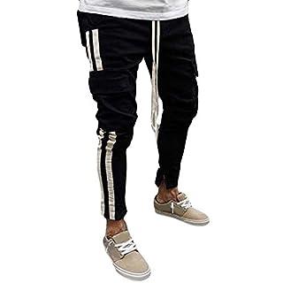 Zarupeng Herren Schwarz Jeans Chino Stoff Hose Dünne Bleistift-Hosen mit Multi Pocket Junge Cowboy Pants Freizeithose