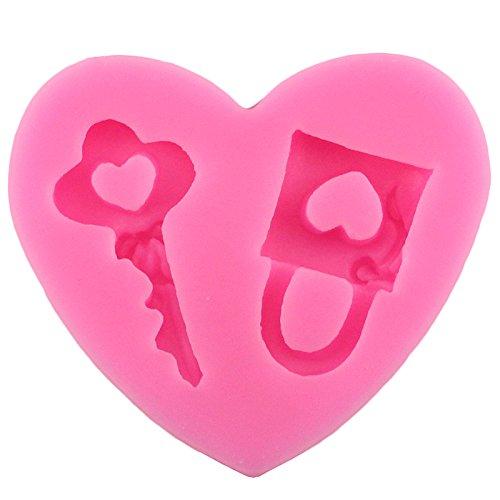 nikgic Key Lock para lo mismo Corazón figura silicona Fondant Cake Mold antiadherente de forma de chocolate Biscuit Molde para niños, hecho a mano