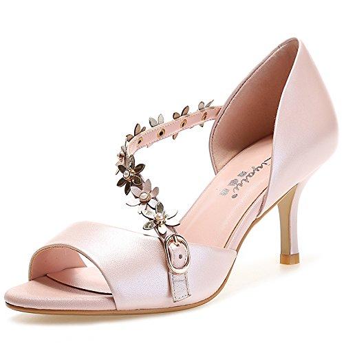 Cinture con tacco alto della bocca dei pesci Fiori Buckle Sandals Rosa Bianco Belle tallone di modo delle signore Pink