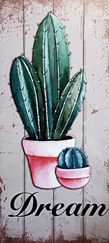 MI RINCON Cuadro Madera Vintage Cactus Dream Decorar