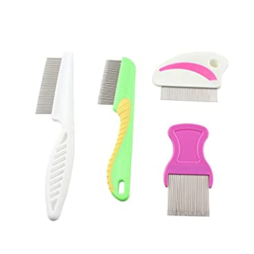 Emours Pet Flea Comb for Dogs Cats and Small Pets Grooming Brush for Short and Long Hair,Set of 4
