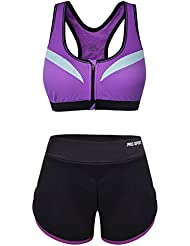 Vbiger Deportes Sostén Yoga Pantalones Deporte Trajes Gimnasio Conjuntos Respirable Sostén y Pantalones Cortos Para Mujer (Negro, L)