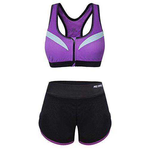 Vbiger Deportes Sostén Yoga Pantalones Deporte Trajes Gimnasio Conjun