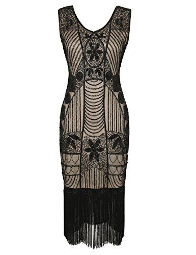 PrettyGuide Damen 1920er Gatsby Pailletten Art Deco Fransen Cocktail Flapper Kleid M Schwarz beige