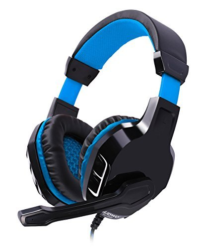 NUBWO NO3000 Over-ear Stereo Kopfhörer, Gaming Headset mit hohe-Empfindlichkeit Noise-Cancelling Mikrofon & Lautstärkeregler für PC, PS4 – Blau/Rote (Blue)