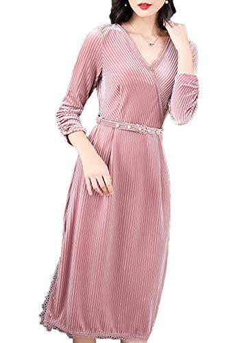 Frühling Herbst Damen SAMT Midi Kleid mit Schlitz Elegant Spitzen Splice Kleid Partykleider...