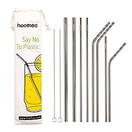 HOOMEE Cannucce in Acciaio Inox Riutilizzabili (Set da 8) con E-Book Ricette – Alternativa Ecologica alla Plastica…