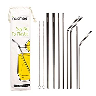 HOOMEE Stainless Steel Straws, Reusable Full Variety Drinking Metal Straws for Thick Smoothie, 40oz 30oz 20oz Tumblers Cups Mugs,Set of 10 Including 2 Cleaning Brush. No Toxic, BPA Free,FDA Approved