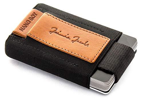 JAIMIE JACOBS Nano Boy Mini Wallet, Mini Geldbörse aus Textil, Kleiner Geldbeutel, Slim Wallet mit Zugband Kartenhalter, Mini-Portmonee, Kartenetui für Herren und Damen (Cognac)