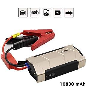 LALEO Arrancador de Coches de Coche (hasta 2, 0L Gasolina), 600A 10800mAh 12V IP68 Impermeable con Carga Rápida QC3.0 USB Linterna LED Bomba de Aire