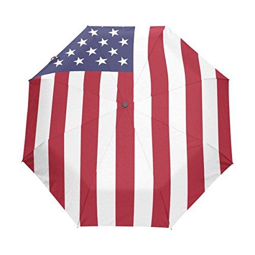 United Vertical Flag (COOSUN Vertical United States Flag Automatik 3 Klapp Sonnenschirm Sonnenschutz Anti-UV-Regenschirm für Frauen)