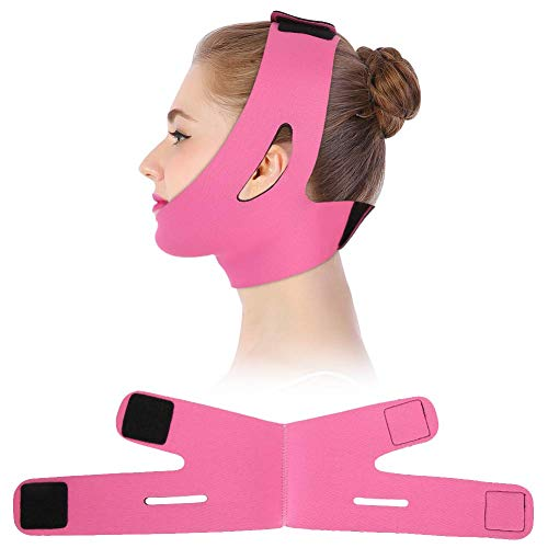 E-CHENG Face Slimming Cheek Mask, V Face Line Belt Breathable Chin Lift Up Anti Wrinkle Sleep Mask Strap(Rose Red) (2 Straps 20 Lifting X)