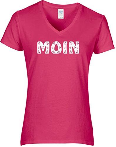 BlingelingShirts Shirt Damen Moin Schriftzug kleine Anker maritim Hamburg Anchor, T-Shirt, Grösse S, pink
