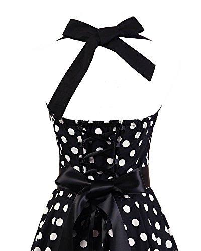 VKStar® Retro 50er Neckholder Rockabilly Kleid Damen Rückenfrei Cocktailkleid Audrey Hepburn Swing Kleid Schwarz weiße Punkte B